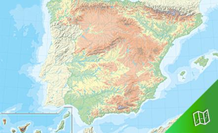Mapa mudo físico de España