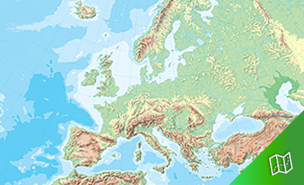 Mapa mudo físico de Europa