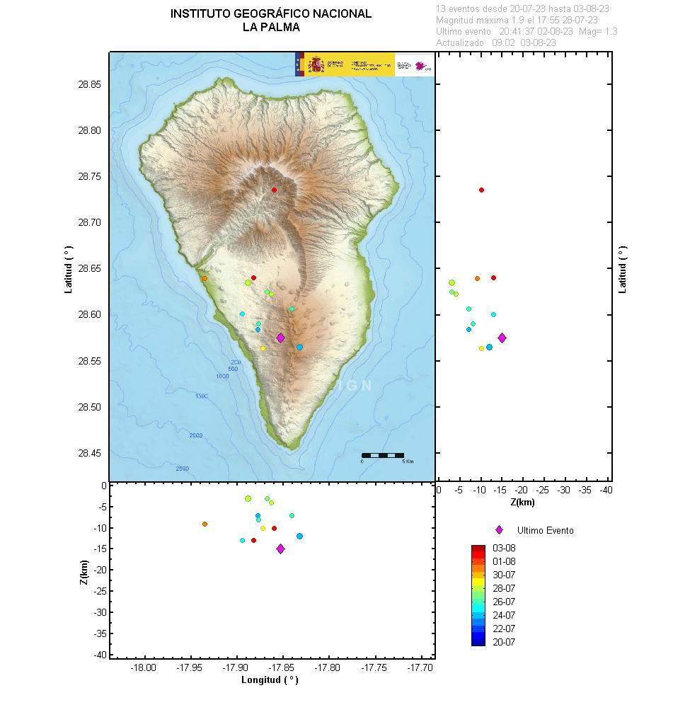 localizacion eventos sismicos la palma 15 dias